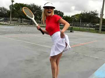 Crummy blonde milf Kristina Reese plays tennis and blowjob game as well