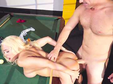 Appetizing blonde Luna Star bends over the pool table and gets her ass fucked from behind