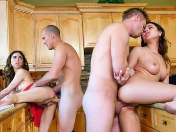 Melissa Moore and Riley Reid swap husbands during family dinner