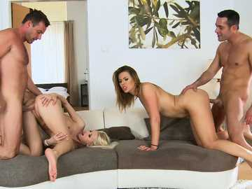 Blonde Lynna Nilsson and brunette Ani Blackfox prefer doggy style sex action