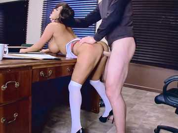 Lusty Asian student girl August Taylor opens the door to her vagina for horny Charles Dera