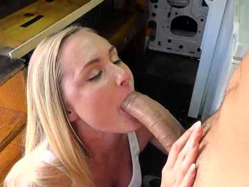 Hot blonde suckles off huge wang inside the ice cream truck